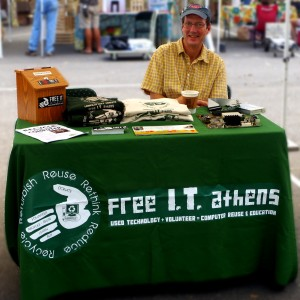 Luke Ferguson REpresenting FRITA at Athens Farmers Market