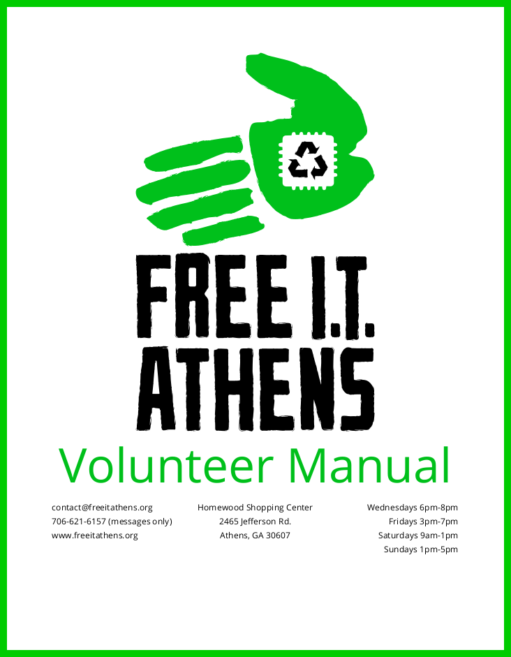 the cover of the volunteer manual
